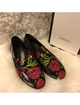Gucci Jordan Floral Leather Trim Metallic Loafers by Gucci