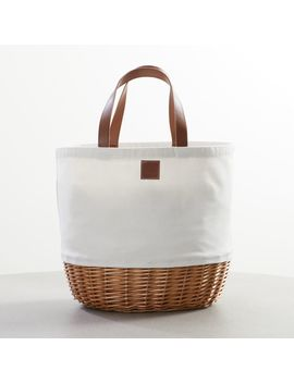 White Canvas Picnic Basket by Crate&Barrel