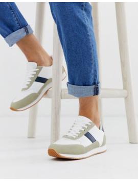 Asos Design Retro Sneakers In Stone With Gum Sole by Asos Design