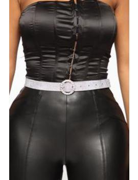All The Attention Rhinestone Belt   Silver by Fashion Nova