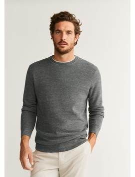 Structure Wool Cotton Sweater by Mango