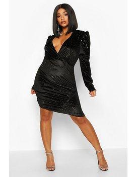 Plus Glitter Velvet Full Sleeve Wrap Dress by Boohoo