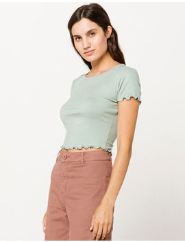 Bozzolo Ribbed Lettuce Edge Light Green Womens Crop Tee by Bozzolo