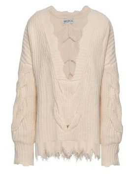 Distressed Cable Knit Cotton Blend Sweater by Wildfox