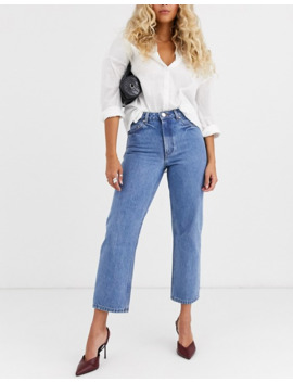 Asos Design Recycled Florence Authentic Straight Leg Jeans In Pretty Mid Stonewash Blue by Asos Design