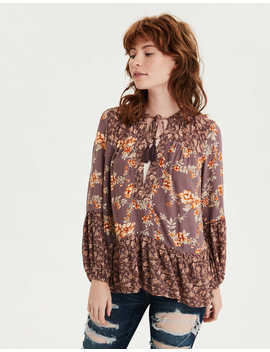 Ae Printed Long Sleeve Peasant Top by American Eagle Outfitters