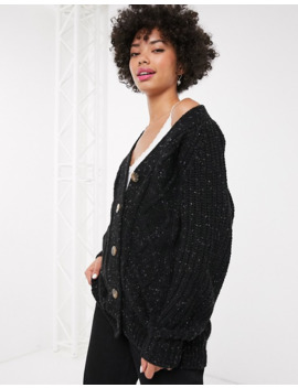 Monki Cable Knit Cardigan In Black by Monki