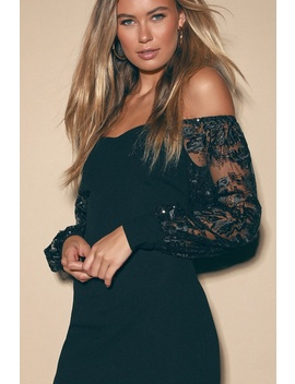 Mesmerize You Black Embroidered Sequin Off The Shoulder Dress by Lulus