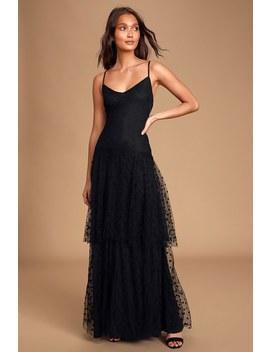 Caress Black Polka Dot Tiered Sleeveless Maxi Dress by Lulus