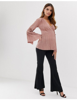 Asos Design Maternity Wrap Top In Plisse With Tie Side In Dusky Pink by Asos Design
