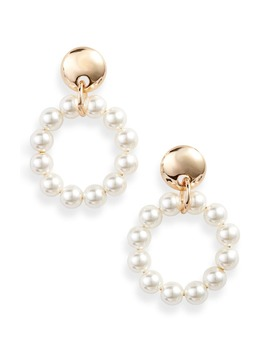 Imitation Pearl Frontal Hoop Earrings by Lele Sadoughi