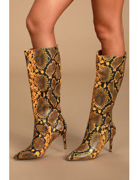 Kinga Yellow Snake Pointed Toe Knee High Boots by Steve Madden
