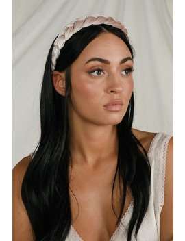 Clea Taupe Velvet Braided Headband by Lulus