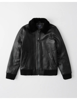 Shearling Collar Leather Jacket by Abercrombie & Fitch