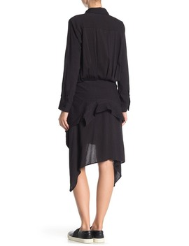 Long Sleeve Tie Front Shirt Dress by Tov