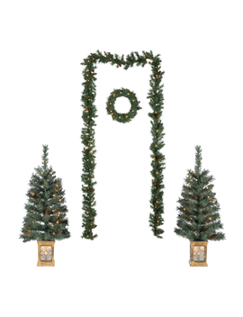 Holiday Time Pre Lit Christmas Tree Entryway Set, White Lights, Green Color, 5 Pieces by Holiday Time
