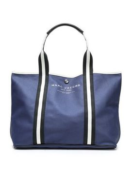 East/West Grosgrain Trimmed Coated Cotton Canvas Tote by Marc Jacobs