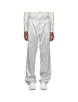 Silver Jacquard Tarek Trousers by Gmbh