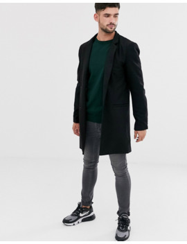 Only &Amp; Sons Wool Overcoat In Black by Only & Sons