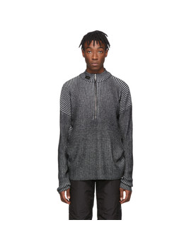 Grey & Black Knit Half Zip Sweater by Heliot Emil