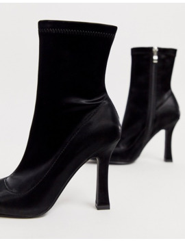 Raid Collin Black Sock Boots With Flared Heel by Raid