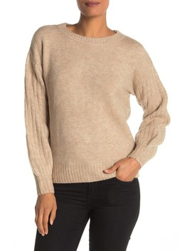 Cozy Ribbed Puff Sleeve Sweater by Max Studio