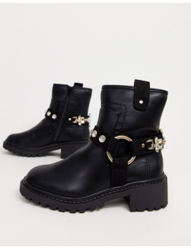 River Island Flat Boots With Embellished Straps In Black by River Island
