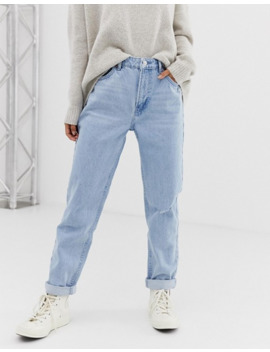 Bershka Mom Fit Jean In Light Blue by Bershka