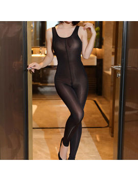 Women Mesh Sheer Jumpsuit Pants Sleeveless Zipper Open Crotch Leotard Bodysuit by Fashion