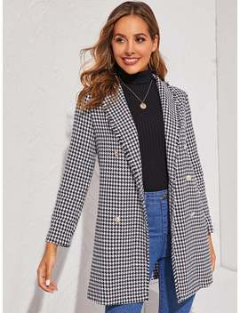 raw-trim-double-breasted-houndstooth-coat by sheinside