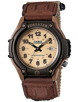 Men's Forester Analog Watch, Tan Nylon Fast Wrap Strap by Casio