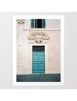 Blue Wooden Door In Rome | Italy | Wanderlust Travel Photography Pastel Art Print by Society6