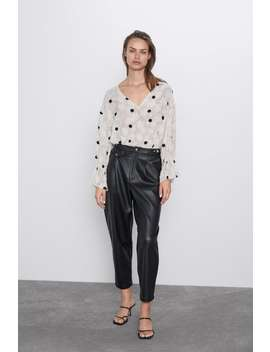 Textured Weave Polka Dot Top by Zara