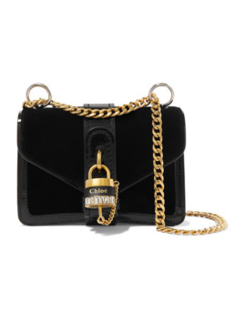 Aby Chain Mini Patent Leather Trimmed Velvet Shoulder Bag by Chloé