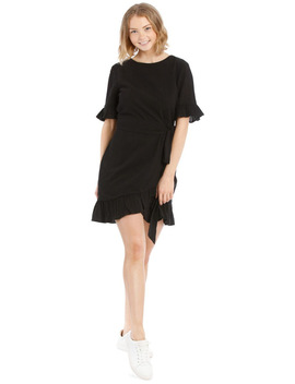 Textured Cotton Wrap Dress by Miss Shop