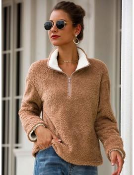 half-zip-teddy-sweatshirt by sheinside