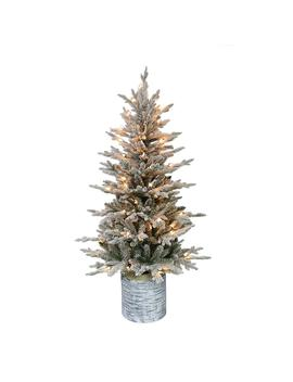 4.5 Ft. Pre Lit Potted Flocked Arctic Fir Artificial Christmas Tree With 70 Ul Listed Clear Lights by Puleo International