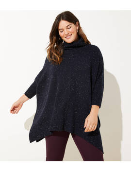Loft Plus Striped Turtleneck Poncho Sweater by Loft