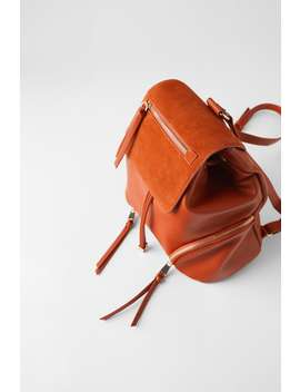 Leather Backpack With Flap by Zara