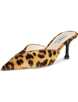 Leopard Print Genuine Calf Hair Mule by Prada