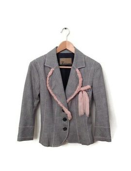 john-galliano-jacket-10-gray-pink-check-runway-blazer-womens-career-wool by john-galliano