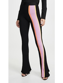 Bottleneck Rib Flared Pants With Front Stripe by Ellery