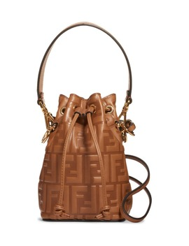 Mini Mon Tresor Logo Leather Bucket Bag by Fendi