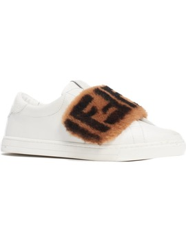 Ff Genuine Shearling Slip On Sneaker by Fendi