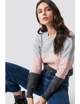 Multi Block Knitted Jumper Grå by Trendyol
