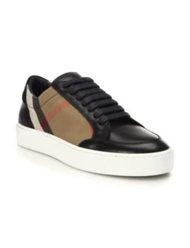 Salmond House Check & Leather Sneakers by Burberry