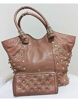 Betsey Johnson Brown Leather Large Studded Satchel Tote Wallet Women's Handbag by Ebay Seller