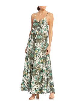 Nicole Floral Print Sleeveless A Line Maxi Dress by Gianni Bini