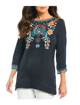 Embroidery 3/4 Sleeve Floral Printed Back Satin Blouse by John Mark