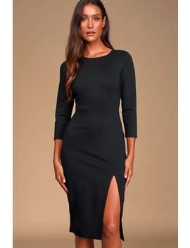 Embrace Black Three Quarter Sleeve Bodycon Midi Dress by Lulus